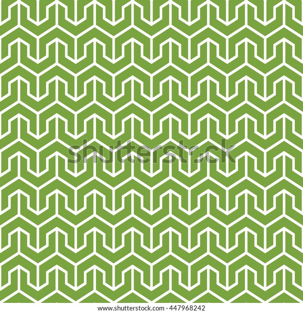Seamless green and white vintage oriental isometric geometrical pattern