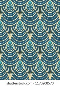 Seamless green-yellow pattern in art deco style