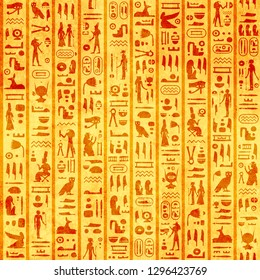 Seamless grunge background with old paper texture of yellow color and ancient egyptian hieroglyphs and symbols