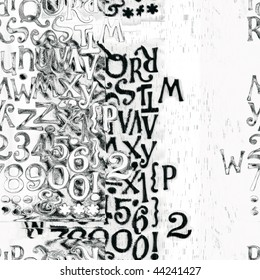 Seamless Grunge Letters And Numbers Design
