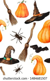 Seamless Halloween hand drawn  watercolor pattern. Pumpkin, spiders, bats, witch hats and witch broom on white background