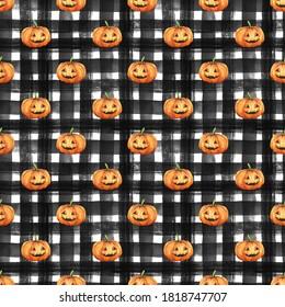 Seamless halloween pattern design. Hand drawn watercolor pumpkins on checkered background