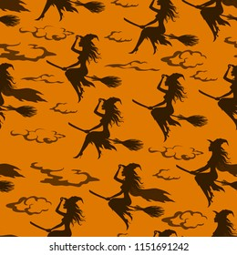 Seamless Halloween Pattern, Witch Flight on a Broomstick, Black Silhouettes against a Sky with Clouds, Tile Holiday Background.