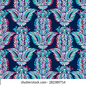 seamless hamsa pattern with neon glow. Festive and psychedelic bohemian pattern with oriental traditional motif, symbol of luck.  colorful layered ornaments.