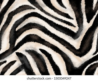 Seamless hand drawing zebra texture, animal print, african animal texture