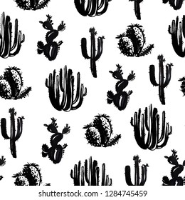 Seamless hand drawn cactus black and white pattern. Exotic ink grayskale texture.