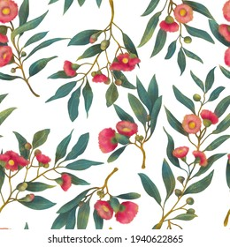 Seamless hand drawn floral repeat. Australian pink native gum nut flower eucalyptus pattern