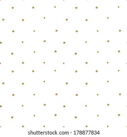 Seamless Hand Drawn Gold Polka Dot Pattern Background