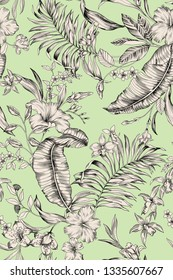 seamless hand drawn graphical botanical tropical pattern with foliage and flowers. Banana leaves, areca palm leaf, hibiscus, frangipani, fantasy flowers. Summer lush blooming tropics. Allover design.
