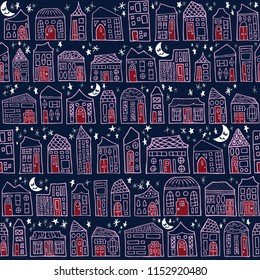 Seamless Hand Drawn Happy City Good Night Moon Pattern in Red and Orchid on a Navy Background. Great for children, baby, stationery, fabric, home decor, scrapbooking.