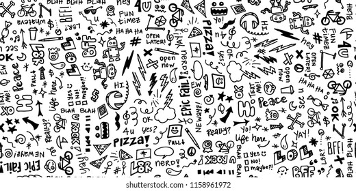 Seamless hand drawn school note doodles pattern in black and white. Great for teachers, classrooms, children, students, backgrounds, paper, scrapbooking, fabric, etc