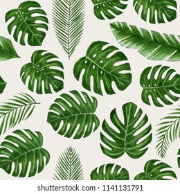 Seamless hand drawn tropical pattern with monstera and palm leaves on light beige background. Markers drawing
