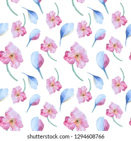 Seamless hand drawn watercolor pattern with pink poppies