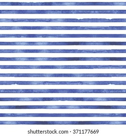 Seamless hand drawn watercolor pattern with light indigo stripes.