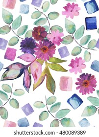 Seamless hand drawn watercolor pattern with botanical elements. Flowers and leaves. Perfect for dress textile.