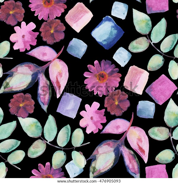 Seamless hand drawn watercolor pattern with botanical elements on black background. Flowers and leaves. Perfect for dress textile.