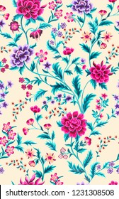 seamless hand painted decorative bright floral pattern with leaves. Fantasy peony flowers with small ditsy in branches.