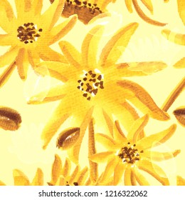 seamless hand painted watercolor floral pattern artwork