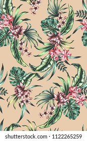 seamless hand painted watercolor lush vibrant tropical pattern with exotic flowers (orchid, chrysanthemum, frangipani). Tropic foliage design. Botanical floral illustration.