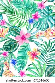 seamless hand painted watercolor tropical pattern, floral vivid hawaiian summer design with hibiscus, plumeria (frangipani) flowers and tropic leaves