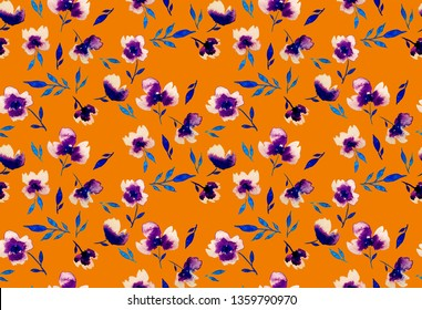 Seamless Hand Painting Abstract Watercolor Peony Poppy Violet Flowers and Leaves Pattern Isolated Background