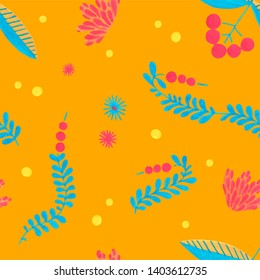Seamless hand-drawn doodle floral pattern with simple Scandinavian style for folklore festival design. Minimal floral pattern with gouache flower elements on bright yellow background.