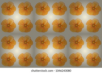 Seamless hand-drawn raster cosmos flower pattern in beige, yellow and orange colors.