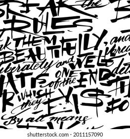 Seamless handwriting pattern, brush effects, abstract handwriting, graffiti pattern