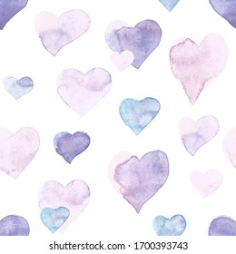 Seamless heart pattern. Hand painted watercolor. Graphic design element for web sites, stationary printables, fabric, scrapbooking etc.
