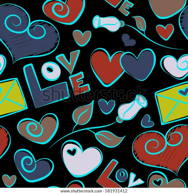 Seamless heart pattern, valentines. Hearts, letter and flower in red, blue and yellow colors on a black background. Colorful elements for cards, packaging, paper, typography, business cards, tissues.