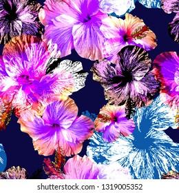 Seamless hibiscos flowers