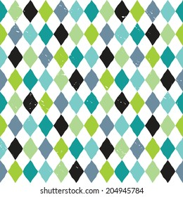 Seamless hipster background in blues and greens with rough hand drawn argyle or diamond pattern, raster version.