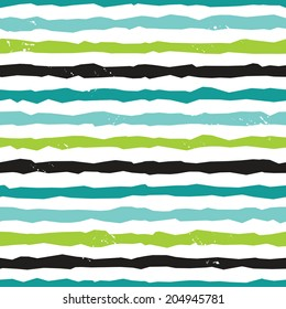 Seamless hipster background pattern with rough hand drawn stripes in blues and greens, raster version.