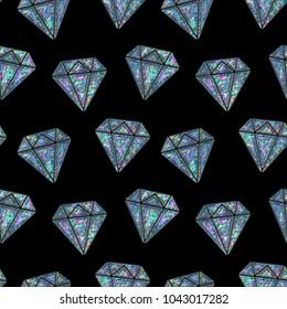 Seamless Holographic Stickers Pattern. Diamonds on black
