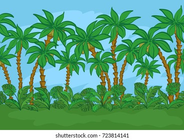 Seamless Horizontal Background, Exotic Landscape, Tropical Palm Trees, Plants and Blue Sky.