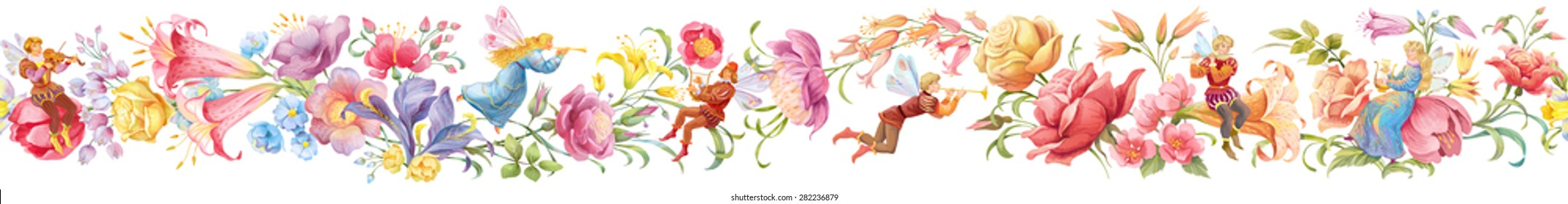Seamless horizontal  border of flowers and elves musicians