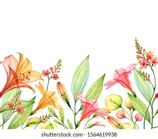 Seamless horizontal border isolated on white. Watercolor Transparent Lily with freesia, hibiscus and leaves. Tropical botanical floral illustration for wedding design, wallpapers, advertising