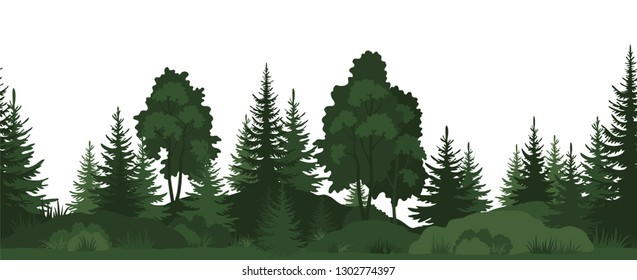 Seamless Horizontal Landscape, Summer Forest with Trees, Grass and Bushes Green Silhouettes on White Background.
