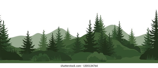Seamless Horizontal Landscape, Summer Mountain Forest with Fir Trees, Bushes and Grass Green Silhouettes on White Background.