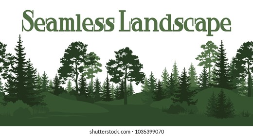 Seamless Horizontal Summer Forest with Pine, Fir Tree, Grass and Bush Green Silhouettes on White Background.