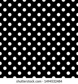 seamless horizontal white polka with on black background