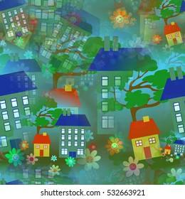 Seamless House Wallpaper Pattern