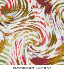 seamless ikat pattern . tie dye swirl  on linen fabric textures background with vintage effect . Art design print for bed linens, jacket, package, fabric, clothing , scarf, pillow, cotton, upholstery