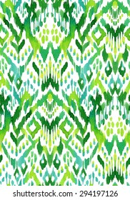 seamless ikat textile pattern. beautiful geometric abstract shapes, allover design. hand drawn ethnic motifs.