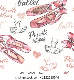 Seamless Illustration, background with hand drawn pair of well-worn ballet pointes shoes, tutu and modern lettering. Watercolor elements