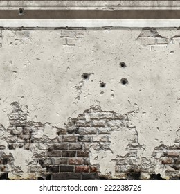 A Seamless illustration of a damaged wall with bullet holes on it. Seamless texture means that you can place a sample side by side and repeat it infinitely or use it as material for 3D scenes/objects.