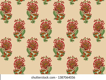 seamless Indian mughal flower motif allover