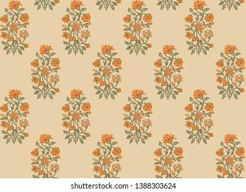 seamless Indian mughal flower motif pattern
