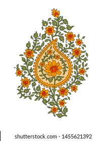 seamless Indian mughal flower motif background