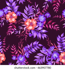 seamless intense and vibrant floral pattern in watercolor and pencils. Artistic floral illustrations. For textile , feashion, interior.